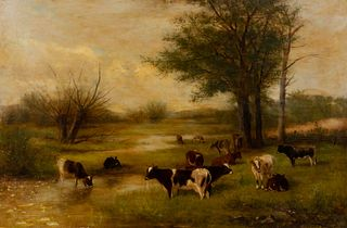 Newbold Hough Trotter (American, 1827-1898) Cows Grazing, 1893