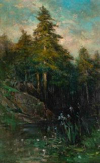 George Henry Smillie (American, 1840-1921) At the Pond, 1920