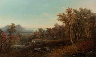 Paul Ritter (American/German, 1829-1907) Landscape with Distant Mountains