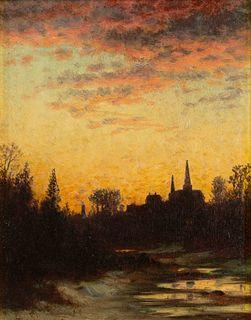 John Joseph Enneking (American, 1841-1916) Church at Sunset, Hyde Park, Massachusetts, 1873