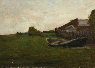 Dennis Miller Bunker (American, 1861-1890) Landscape with Boat