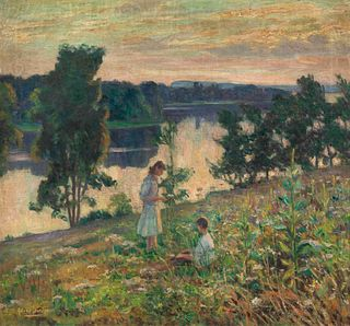 Alfred Juergens (American, 1866-1934) Children by a River