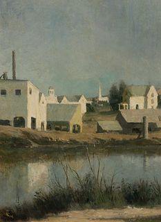 John Koch (American, 1909-1978) Vermont Barns