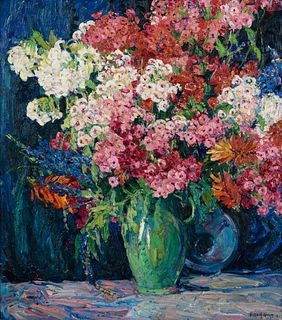 Nellie  Augusta Knopf (American, 1875-1962) Phlox and Flowers, 1923