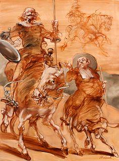 Claude Weisbuch (French, 1927-2014) Don Quichotte au Cirque dans l'Areneand Le Reve du Don Quichotte(a pair), 2001