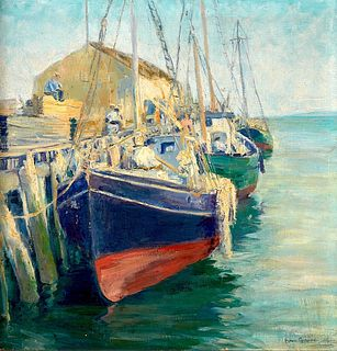 Ann Squire Harbor Scene Oil on Canvas