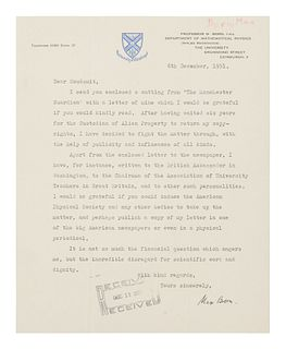 """BORN, Max (1882-1970). Typed letter signed (""""Max Born"""") to Samuel Goudsmit. Edinburgh, 6 December 1951.1 page, 4to, 254 x 203 mm, on University of Ed"""