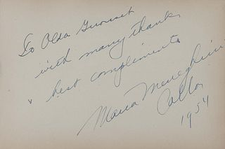 """CALLAS, Maria (1923-1977). Autograph note signed (""""Maria Meneghini Callas""""), to Alda Girouset. N.p., 1954. 1 page, oblong 8vo, 142 x 210 mm, on an aut"""