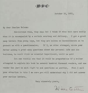 """CATHER, Willa (1873-1947). Typed letter signed (""""Willa Cather""""), to Charles Nelson. N.p., 20 October 1931. 1 page, 8vo, visible area 180 x 170 mm, on"""