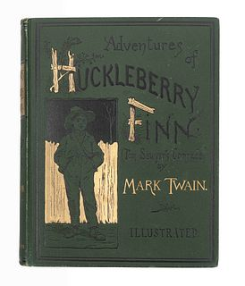"""CLEMENS, Samuel L. (""""Mark Twain""""). Adventures of Huckleberry Finn. New York: Charles L. Webster and Company, 1885."""