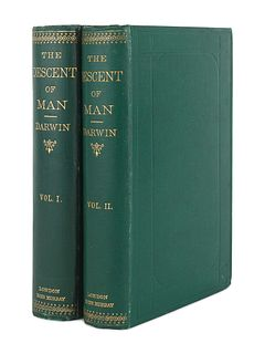 DARWIN, Charles (1809-1882). The Descent of Man, and Selection in Relation to Sex. London: John Murray, 1871.