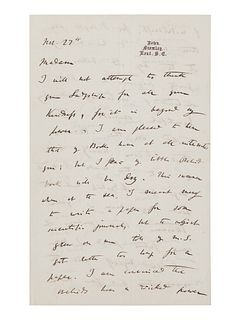 """DARWIN, Charles (1809-1882). Autograph letter signed (""""Charles Darwin"""") to Lady Dorothy Fanny Nevill (""""Madam""""), Down, Bromley, Kent, 27 November [1861"""