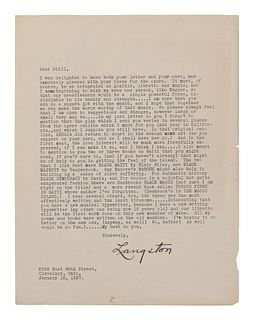 """HUGHES, Langston (1901-1967). Typed letter signed (""""Langston""""), to William Grant Still. Cleveland, OH, 18 January 1937. 1 page, 8vo, small chips to l"""