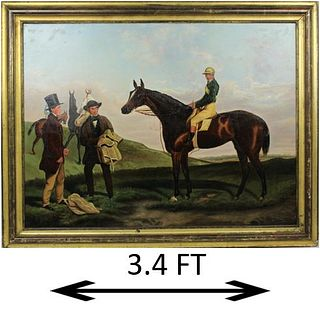 Mid 19th C English Jockey & Horse, Oil on Canvas