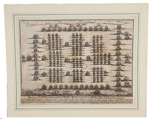 1600's Map of Dutch Fleet Invading England