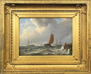 Mid 19th C, Coastal Marine Scene, Oil on Board