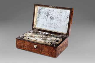 Briar travel beauty-case with silver, mother-of-pearl and crystal necessaire, France, early 19th century