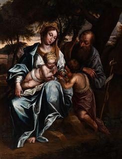 Scuola napoletana, secolo XVII - Holy Family and San Giovannino