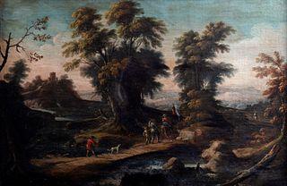 Scuola dell'Italia settentrionale, secolo XVII - Landscape with bridge and wayfarers