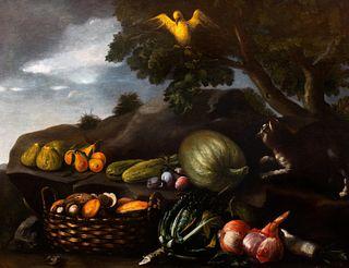 Scuola romana, secolo XVII - Still life with fruit, vegetables and a bird en plein air