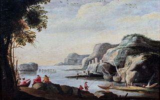 Scuola italiana, fine secolo XVIII - inizi secolo XIX - Coastal view with fishermen in the foreground
