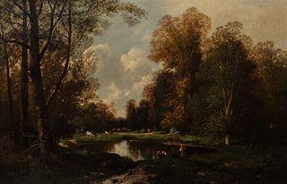 Scuola europea, secolo XIX - Wooded landscape