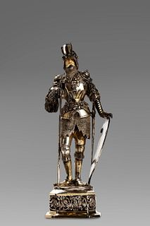 Armigero in silver, with ivory head, 19th century