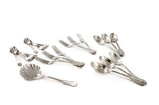 Cutlery set for six in 800 silver, with 12 spoons