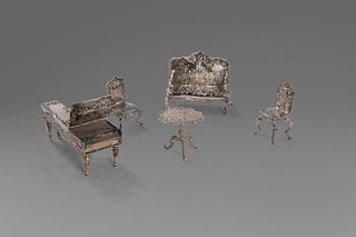Lot of 5 miniature silver furniture: a piano, two chairs, a sofa and a coffee table