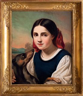 Scuola francese, secolo XIX - Half-length young woman with little dog