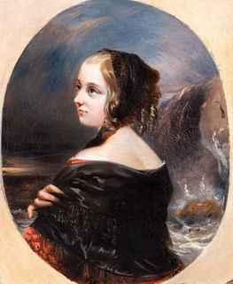 Scuola inglese, inizi secolo XIX - Portrait of young girl with coastal landscape in the background