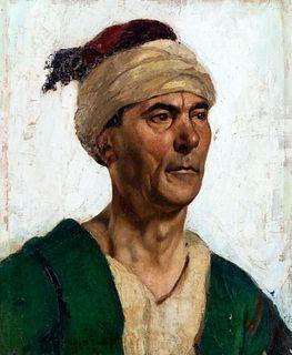 Pieretto Bianco Bortoluzzi (Trieste 1875-Bologna 1937)  - Portrait of man with turban