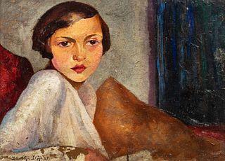 Scuola italiana, inizi secolo XX - Half-length portrait of young woman in an interior