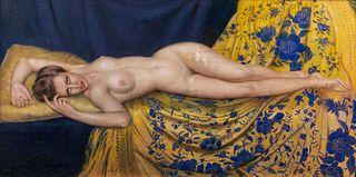 Gustave Brisgand (Parigi  1867-Saint-Mandé 1944)  - Nude of a lying woman