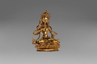 Bodhisattva in gilded bronze, resting on a lotus flower base, China, early 20th century