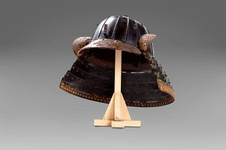 Japanese samurai kabuto in iron and lacquer composed of 16 plates, silk laces, Edo period 1868-1912