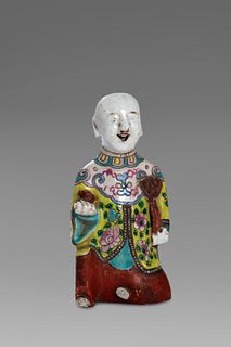 Polychrome porcelain sculpture, 19th century China