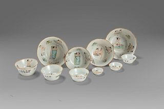 Ten porcelain bowls with erotic scenes, China 19th - 20th centuries