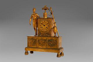 Gilt bronze clock, Empire period, with Diana the huntress