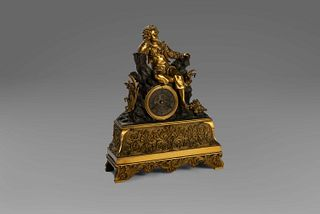 Clock in gilded bronze and dark patina, with a seated youth, 19th century