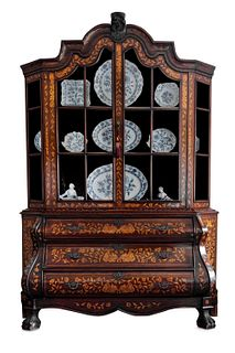Two-part cabinet in walnut with boxwood inlays, the Netherlands 18th century