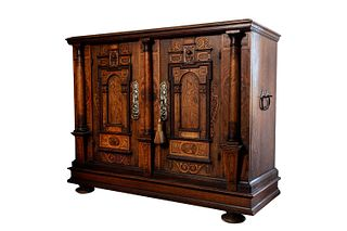 Sideboard cabinet in oak, Germany or Austria first half of the 18th century