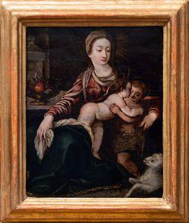 Pittore rudolfino, inizi secolo XVII - Madonna with Child, San Giovannino and a little lamb