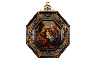 Scuola romana, seconda metà del secolo XVII - Madonna with Child and a Saint