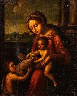 Scuola romana, secolo XVII - Madonna with Child, San Giovannino and a little lamb