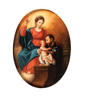 Scuola romana, fine secolo XVIII - inizi secolo XIX - Madonna and Child with Saint Ignatius of Loyola