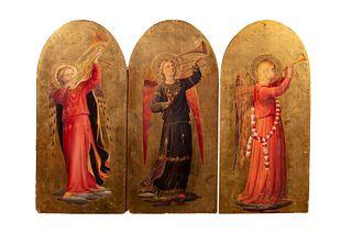 Da Beato Angelico, secolo XIX - Triptych with musician angels