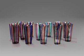 Gio Ponti (MIlano 1891-1979)  - Lot of 14 Murano glasses, from 1950 to 1994 circa