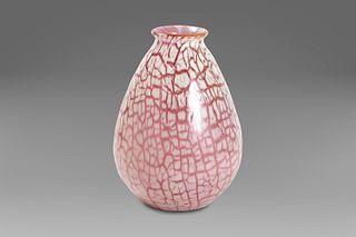 Pyriform glass vase with craquelage motif, signed Gallè, 1920s