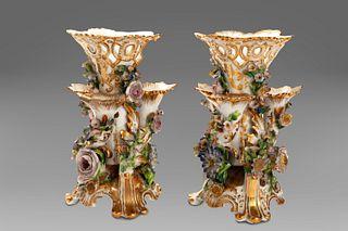 Pair of porcelain flower vases, 19th century